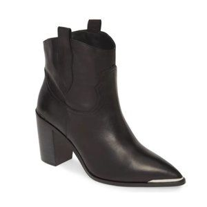 STEVE MADDEN Black Leather Western Ankle Booties